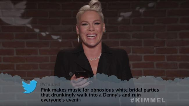 Pink cops it on Jimmy Kimmel's mean tweets segment.