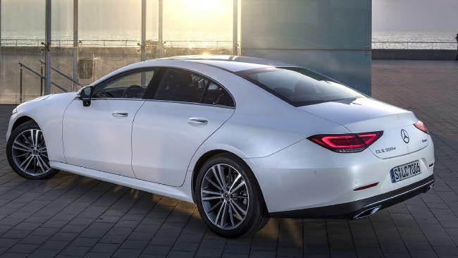 CLS 350: Swoopy four-door coupe uses E-Class sedan underpinnings. Its four-cylinder has a less punchy variant of Benz's EQ Boost tech.