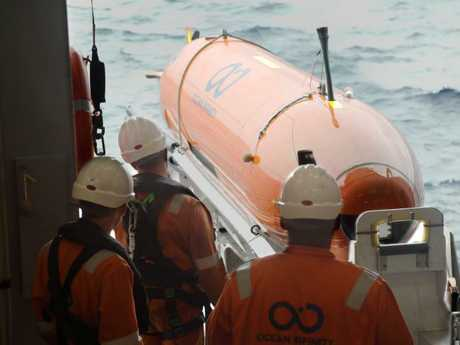 One of Ocean Infinity's autonomous underwater vehicle (AUV) being deployed at sea. Picture: AFP