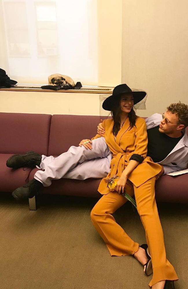 Emily Ratajkowski in her Zara suit, and husband Sebastian Bear-McClard on their wedding day. Picture: @sebobear/Instagram