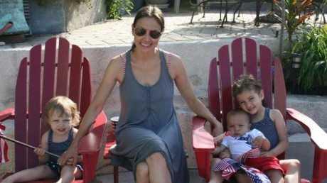 Marina Krim with her three children, from left, Nessie, Lulu and Leo.