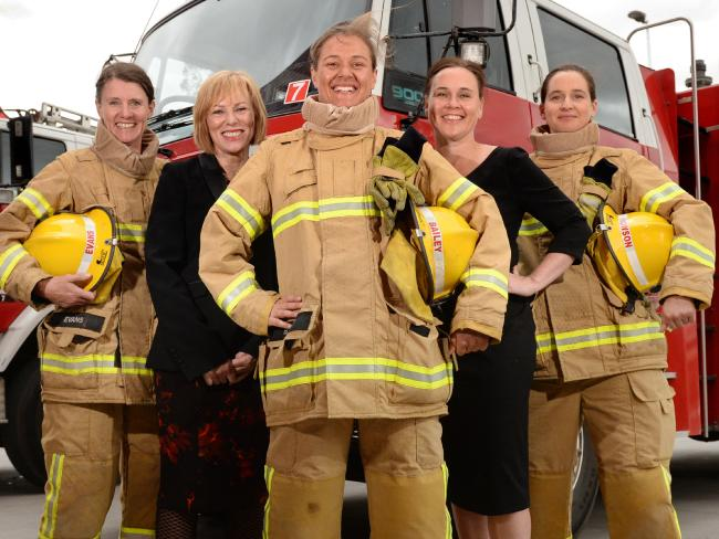 Female firefighter recruits with Emergency Services Minister Jane Garrett and CFA chief executive Lucinda Nolan. L-R Lee Evans, Lucinda Nolan, Amanda Bailey, Jane Garrett and Sarah Howson. Picture: Kylie Else