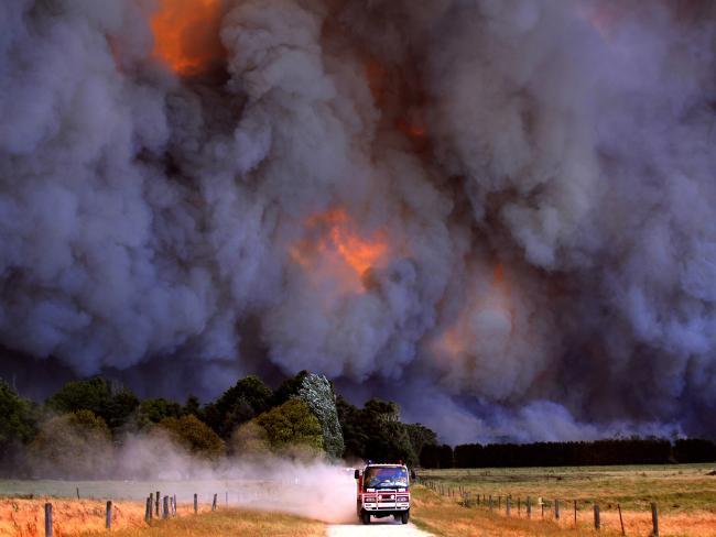 A CFA fire truck during Victoria's Black Saturday Bushfires. Picture: Alex Coppel