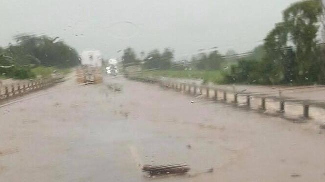 The North Johnstone Bridge on the Bruce Highway is flooded. PHOTO: Allan Sloan