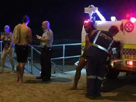 Emergency crews at the scene on the shore of Austinmer Beach, where Jackson Parr had been celebrating his cousin's engagement party.