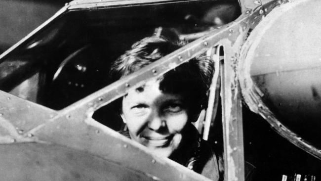 US aviator Amelia Earhart looking through the cockpit window of an aircraft in Essonne, France. Picture: AFP