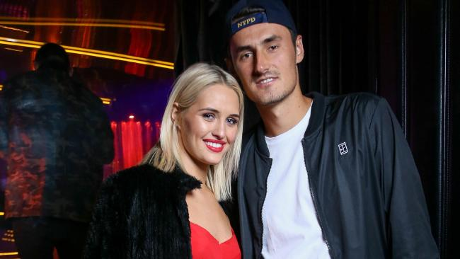 Bernard Tomic with Emma Blake-Hahnel inside Bond Bar in Melbourne — last night the pair were together in Sin City in Surfers Paradise where Tomic spoke briefly to the Gold Coast Bulletin in his VIP booth. Picture: BOND BAR