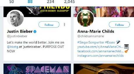 The teen was also following Justin Bieber himself. Picture Twitter