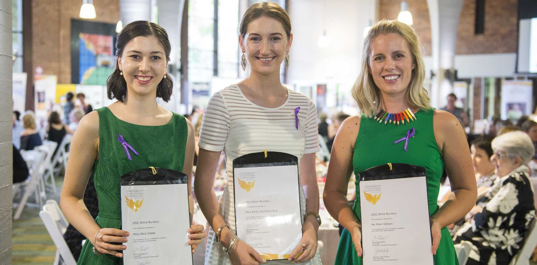 SHINING BRIGHT: The 2017 USQ Shine bursary winners Alice Galea (left), Emily Docherty-Rub (centre), and Miah Gibson (right) are smiling bright.