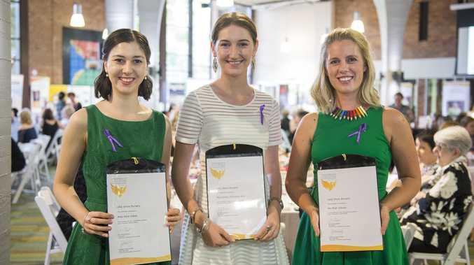 SHINING BRIGHT: The 2017 USQ Shine bursary winners Alice Galea (left), Emily Docherty-Rub (centre), and Miah Gibson (right) are smiling bright.