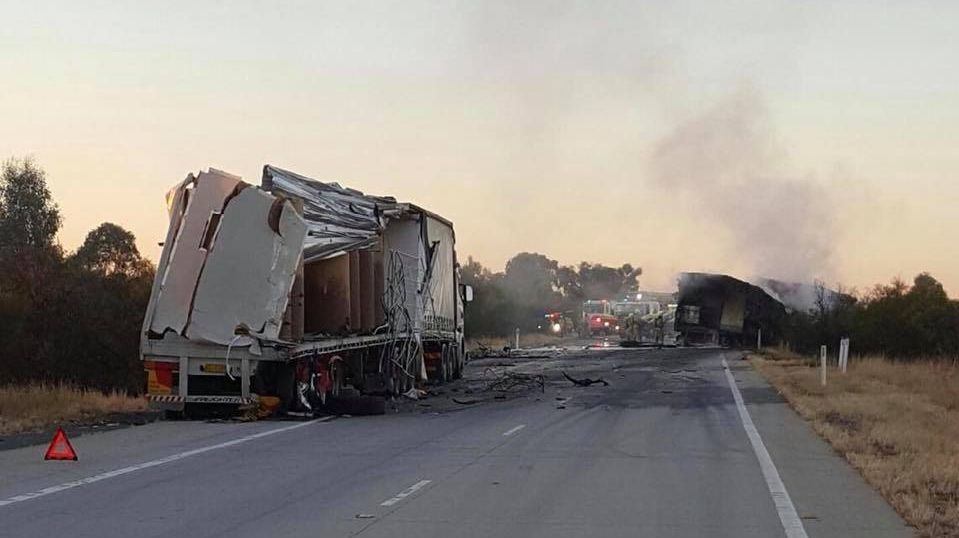 A truck collided with another truck on the Hume Highway this morning near Albury.