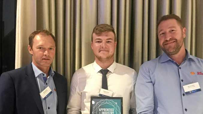 WINNER: Apprentice of the Year Bradley Williams (centre) with Viva Energy's Nick Lubransky (left) and Rob Cavicchiolo.