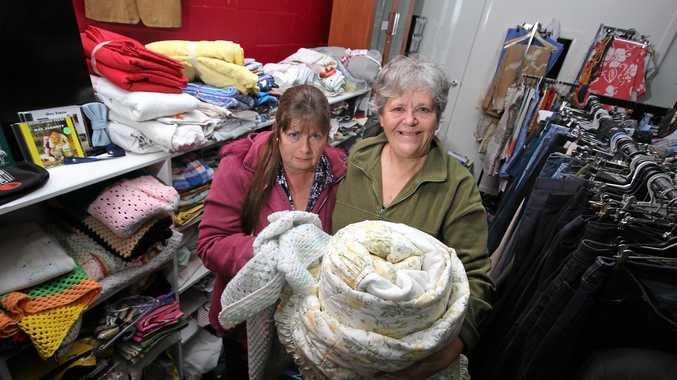 HIDDEN HOMELESSNESS: Deb Lightfoot-De Hamer (at left) said the op shop has been going through swags and boxes of food