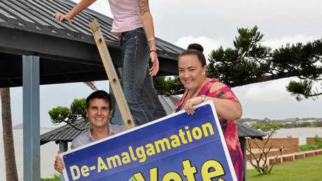 Livingstone residents Nigel Hutton, Rebecca Thulin and Inga Alexander supporting a yes vote for de-amalgamation.