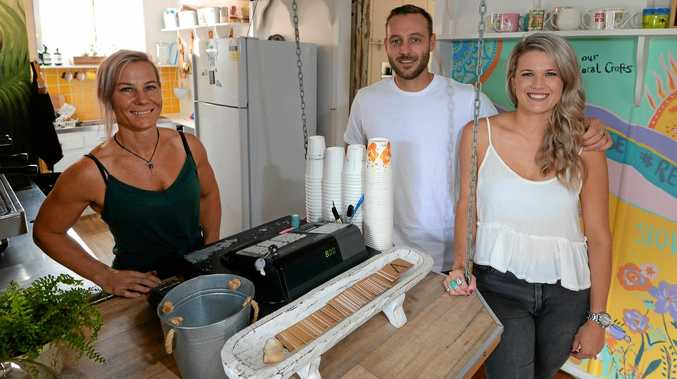 TASTE FOR BUSINESS: L-R Claire Milburn, Tom Howard and Reshell Shinkfield at the Attic Espresso Bar.