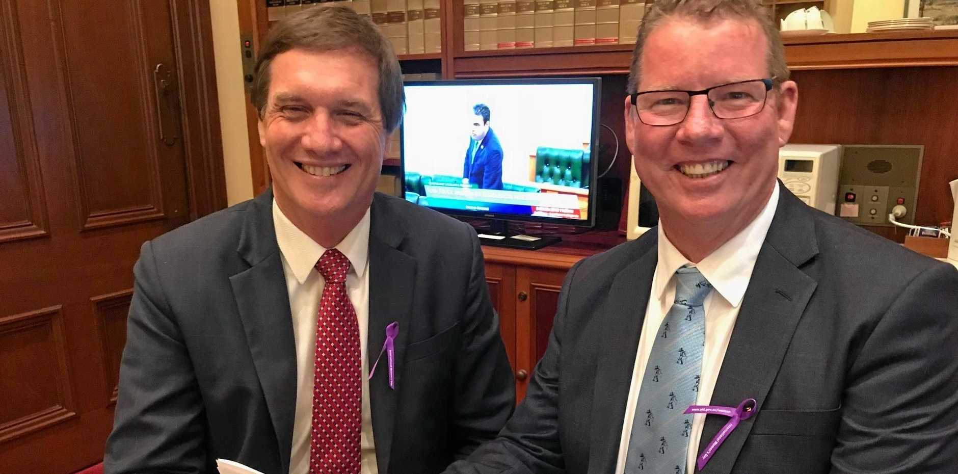 SPEECH REVIEW: Minister for Natural Resources, Mines and Energy Dr Anthony Lynham helps put the finishing touches on Rockhampton MP Barry O'Rourke's maiden speech to parliament.