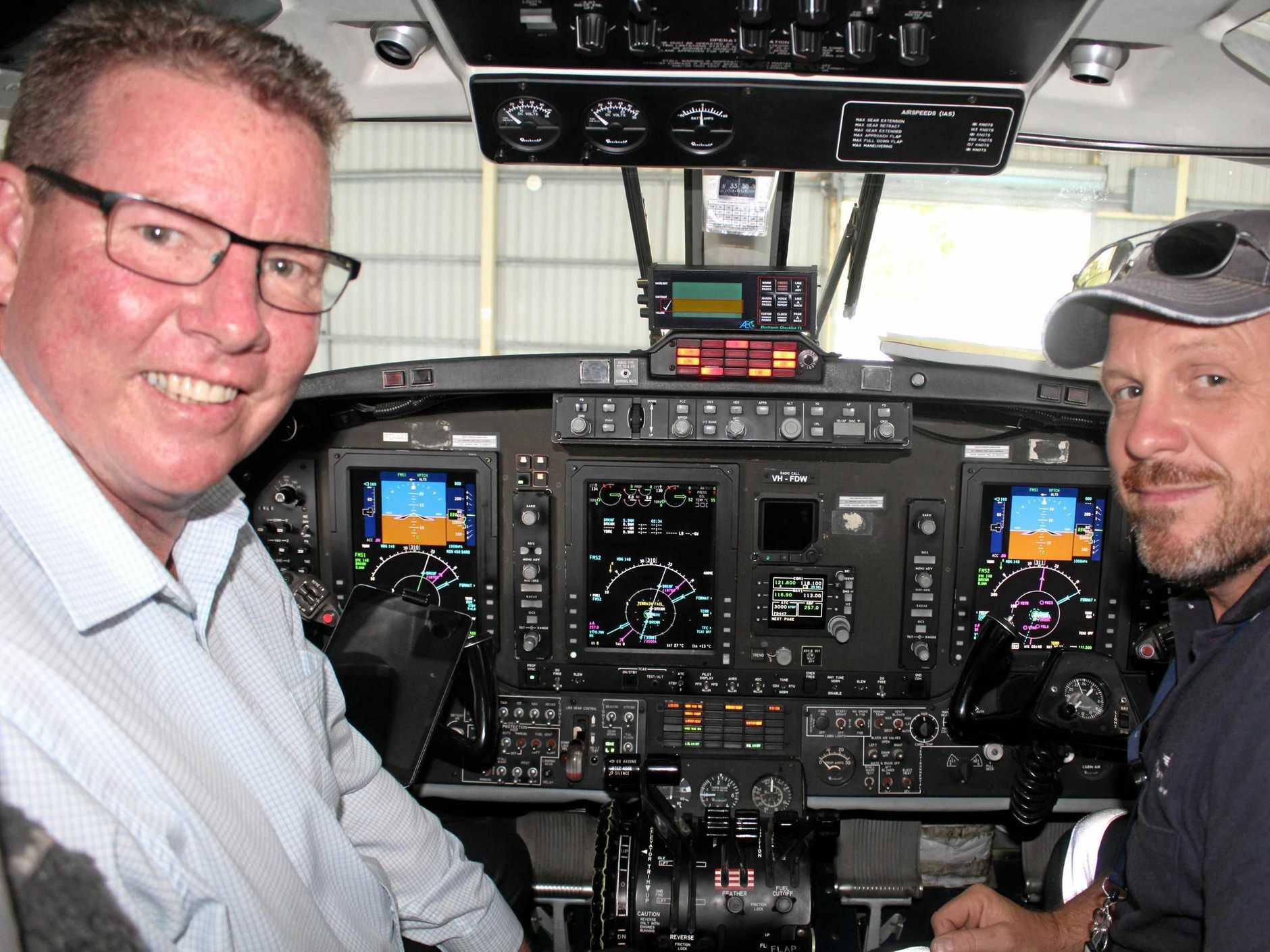 Rockhampton MP Barry O'Rourke, RFDS Flight, Pilot Jef Pelletier and Flight Nurse Peta Croff