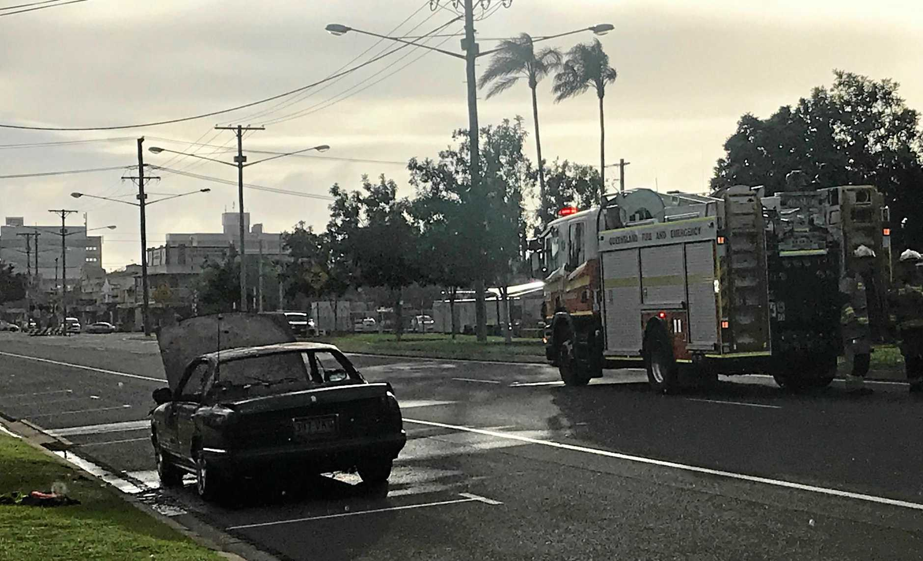 CAR FIRE: Fire fighters were quick to arrive to the scene on Takalvan St.