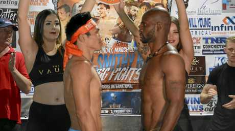 TGW & Smithy Bring The Big Fights 19 title rivals Jack Asis (left) and Rivan Cesaire at today's media weigh-in at The Vault.