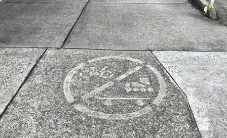 NOT ALLOWED: A sign painted on Victoria St indicated no bikes, skateboards or roller blades allowed on the footpath.