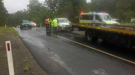 A car involved in a crash at Glenwood Friday morning.