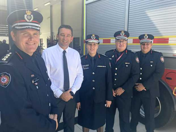 HEAVY RESCUE: Ipswich firefighters join Minister Craig Crawford and QFES Commissioner Katarina Carroll at the opening of the Bundamba Fire Station.