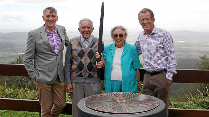 great honour: Scenic Rim's feature batonbearers, John Penglis and Betty Pugh, with Mayor Greg Christensen and Cr Nigel Waistell, at Rotary Lookout.