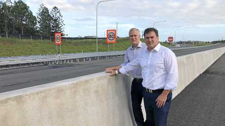 PRIORITY ONE: Deputy Prime Minister Michael McCormack and MP Llew O'Brien visit the end of Section C of the Coorooy-to-Cura upgrade. Mr O'Brien hopes to have Section D fast-tracked.