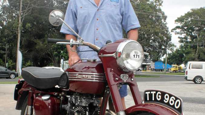 A CLASSIC: Meerschaum Vale's Col McAndrew with his Triumph 1956 Speed Twin which he will show at the Northern Rivers Classic Motorcycle Club's Show and Shine at Alstonville Plaza on March 18.