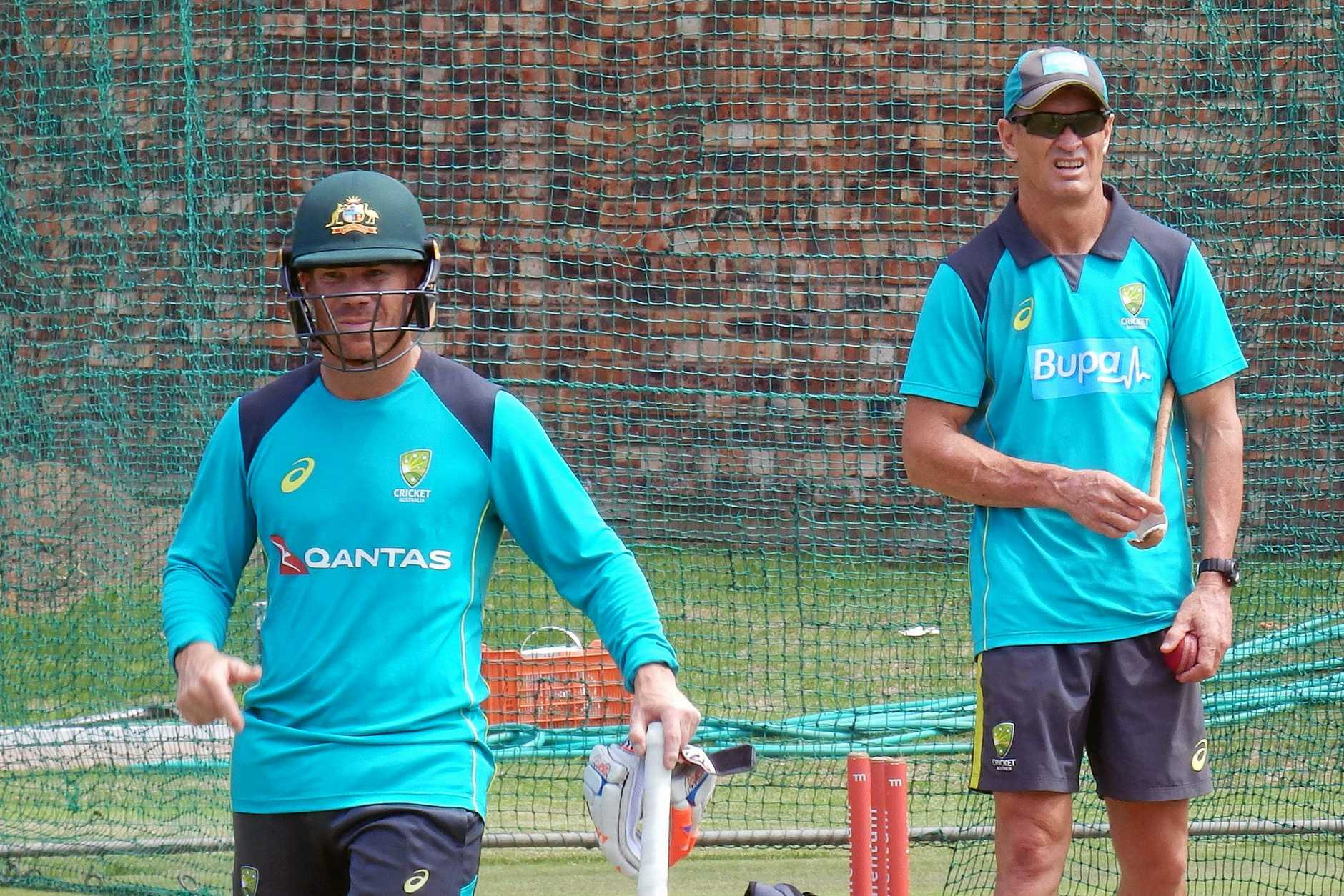 David Warner in the nets with batting coach Graeme Hick.