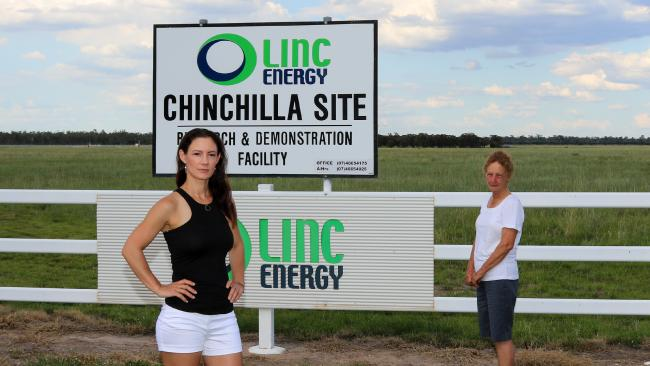 Chinchilla residents Helen and Pam Bender at the Linc Energy site. Picture: Jessica Flynn