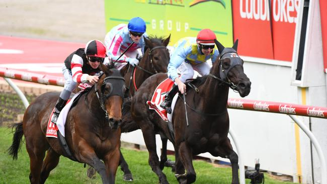 Ben Melham rides MissRock ro victory in the Carlyon Stakes at Moonee Valley. Picture: Vince Caligiuri/Getty Images