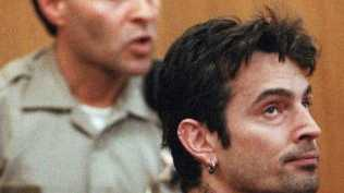 Tommy Lee appearing in court over spousal and child abuse domestic violence in 1998. Picture: Supplied