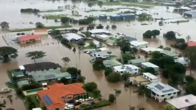 A flooded Ingham from the air.