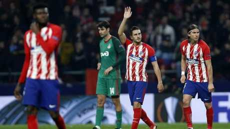 Atletico Madrid's Koke celebrates after scoring his side's third goal