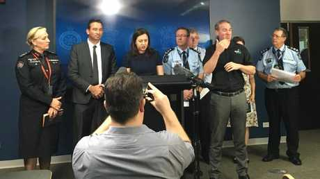 Premier Annastacia Palaszczuk (centre) and emergency services officials announce that a disaster has been declared in north Queensland. Picture: Chris Honnery
