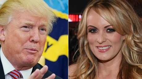 US President Donald Trump and adult film actress/director Stormy Daniels. Picture: AFP