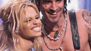 Pamela Anderson with husband musician Tommy Lee in 1999. Picture: Supplied