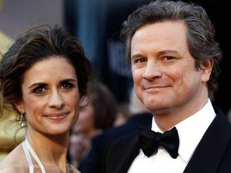 Colin Firth, right, arrives with wife Livia Giuggioli at the 2011 Oscars. Picture: AP