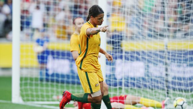 Sam Kerr of the Matildas celebrates a goal