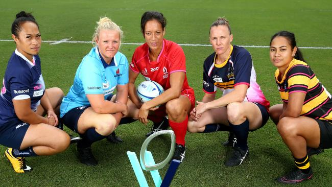 5 women's captains including Jayne Kareroa (Rebels), Emily Robinson (NSW), Kirby Sefo (Reds), Shellie Milward (Brumbies) and Trileen Pomare (Western Force) launch the first women's rugby national comp. Pics Adam Head