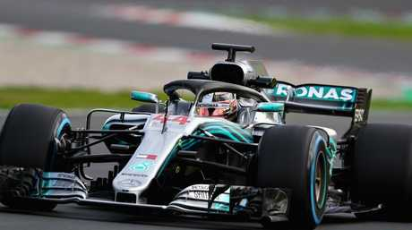 Lewis Hamilton driving the Mercedes AMG Petronas WO9. (Photo by Dan Istitene/Getty Images)