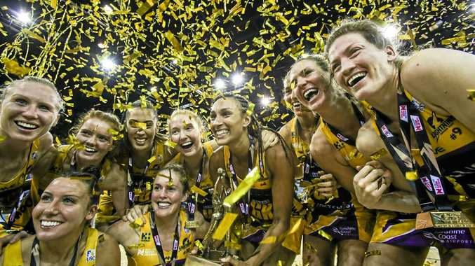 Sunshine Coast Lightning players, pictured celebrating their win in the Suncorp Super Netball grand final, will meet fans at AussieWorld on Sunday.