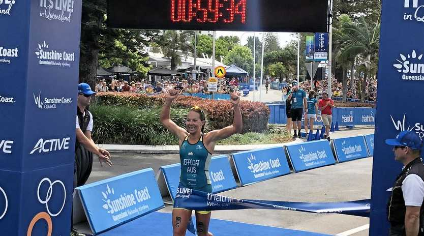Emma Jeffcoat has stormed to a dominant victory in the Mooloolaba ITU World Cup.