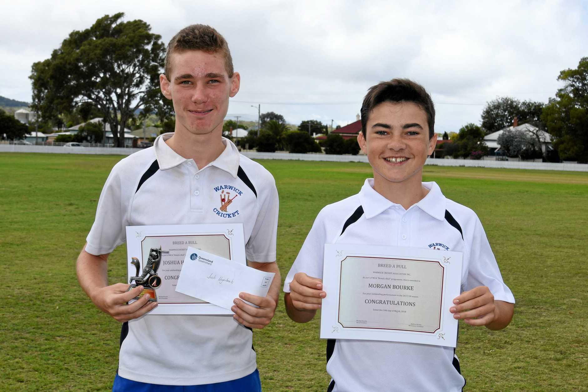 Josh Hagenbach, 13, (left) and Morgan Bourke, 13, won the Breed a Bull Bursary.