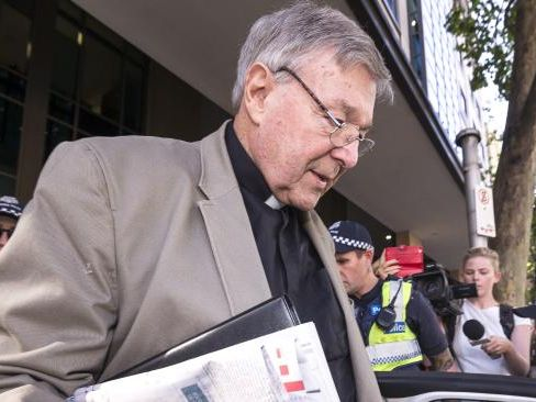 Australia's most senior Catholic Cardinal George Pell departs the Melbourne Magistrates Court in Melbourne, Australia, Tuesday, March 6, 2018. (AAP Image/Daniel Pockett)