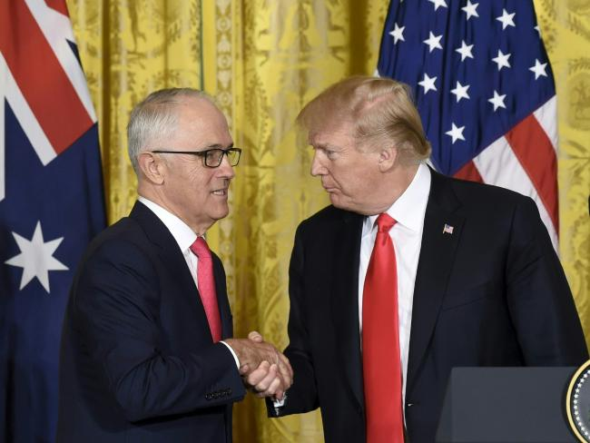 US President Donald Trump and Australian Prime Minister Malcolm Turnbull shake hands. Picture: AFP