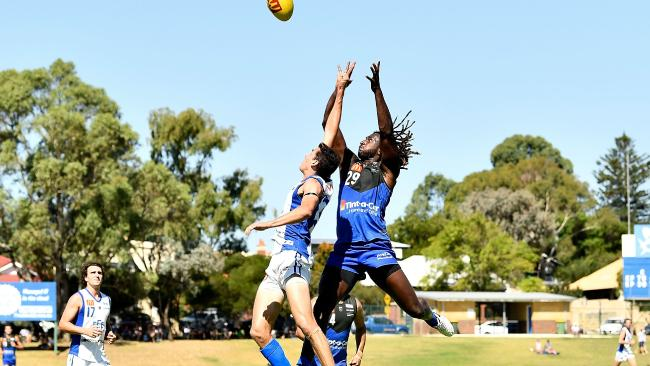 Nic Naitanui flies for a mark for East Fremantle.