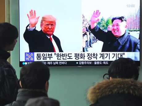 Mr Trump said he would meet Mr Kim by May in an astonishing development in America's high-stakes nuclear standoff with North Korea. Picture: AFP Photo/Jung Yeon-je