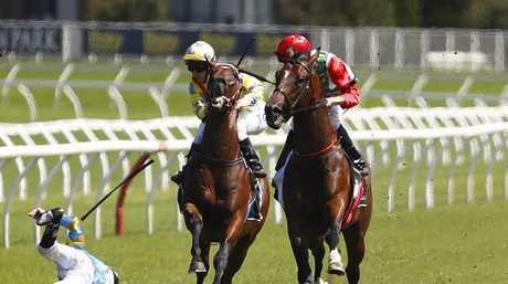 Fellow riders attempt to stay clear of the fallen Hugh Bowman. Picture: AAP